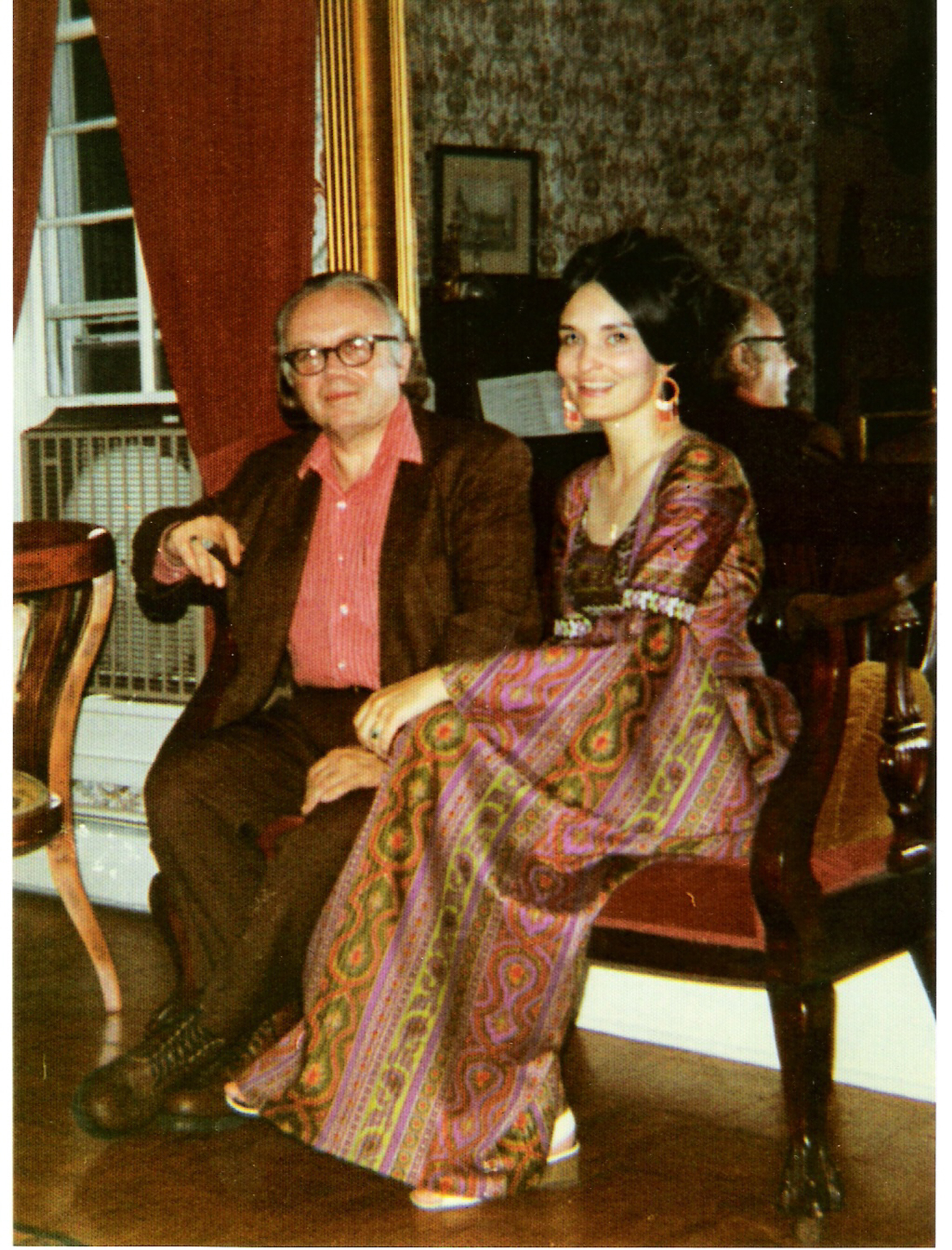 Russell and Annette in their drawing room in the 1970s.