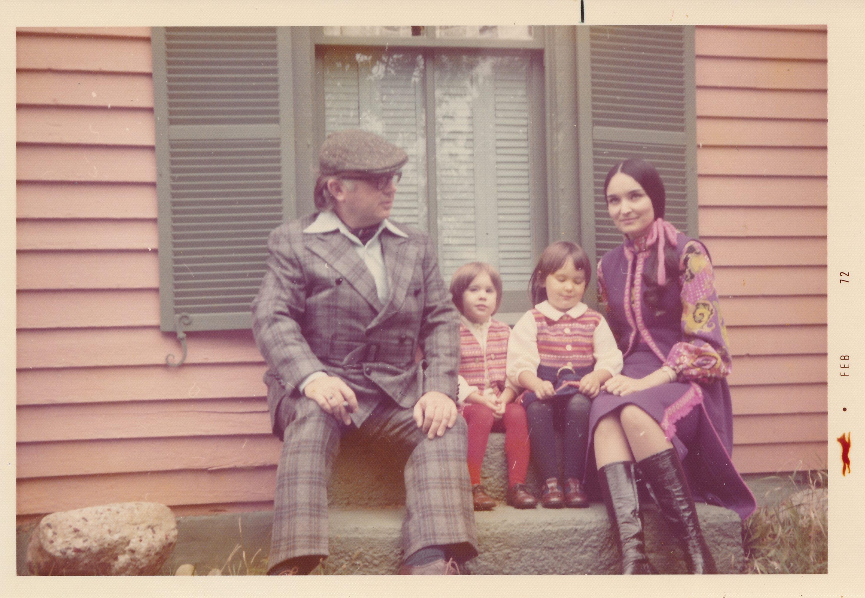 The Kirks with daughters Cecilia (l) and Monica (r ) in the early 1970s.